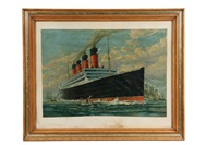 aquitania departing new york city by frederick j. hoertz