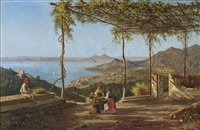 grape pickers above sorrento, vesuvius beyond by achille solari