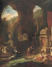 grotta med romerska sarkofager samt figurer vid brunn by adriaen de hennin