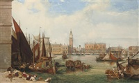 bustling activity on the waterfront, venice by thomas brabazon aylmer