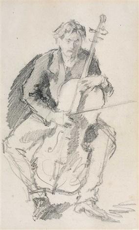 cello spieler konzertstudie verso by wilhelm maria hubertus leibl