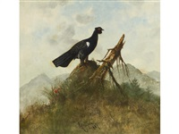 a capercaillie in a rocky landscape by belgian school (19)