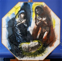 adoration of the christ child (design for a stained glass window) by charles eyck