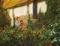 ung kvinde i rosenhaven holdende en buket roser by cilius (johannes konrad) andersen