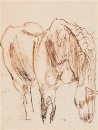 study of a horse; head study of a horse (recto-verso) by robert colquhoun