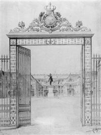 blick durch das gittertor auf die cour d'honneur von schloss versailles by noël marcel lambert
