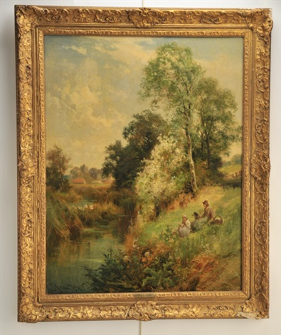 pastoral landscape with figures by john horace hooper