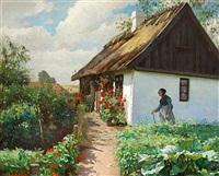 blomstrende rode stokroser udenfor et hvidkalket bondehus by valdemar kornerup