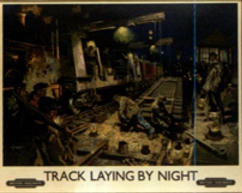 British railways track laying by night