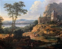 figures in a landscape with a country house by johann (jan) christian vollerdt