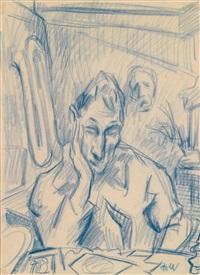 selbstbildnis mit maske im hintergrund by rudolf wacker