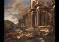 renaissancepalast an einem fluss mit zahlreicher figurenstaffage by jan baptist van der straeten