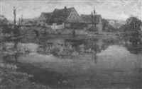 städtchen am fluß bei dachau by gustav heinrich münch-mannheim