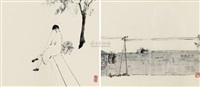 广渠门写生 (two sketches) (2 works) by xu jianwei