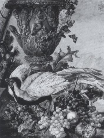 früchtestilleben mit einem silberfasan by ignacz gaal