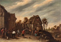 grupo ante una posada by david teniers the elder