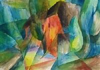 rote kate (+ mensch und technik, 1986, gouache; 2 works) by otto hofmann