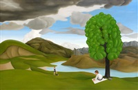 picknick i surrealistiskt landskap by patrik andiné