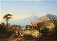 blick auf das griechische theater von taormina (sizilien). im hintergrund der ätna by carl daniel freydanck