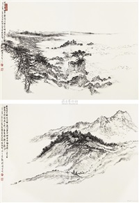 加州写生 (two sketches) (2 works) by hong bo