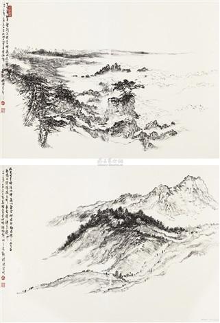 加州写生 (two sketches) (2 works) by hong bo