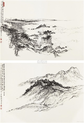 加州写生 two sketches 2 works by hong bo