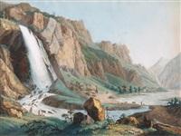 vue de la cascade de pissevache by jean-antoine linck