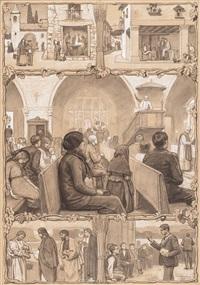 escena bíblica y escenas religiosas (2 works) by dionisio baixeras y verdaguer