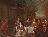 banquete en una terraza by balthasar van den bossche