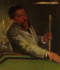 porträt des entenmalers carl jutz am billiardtisch by johannes gehrts