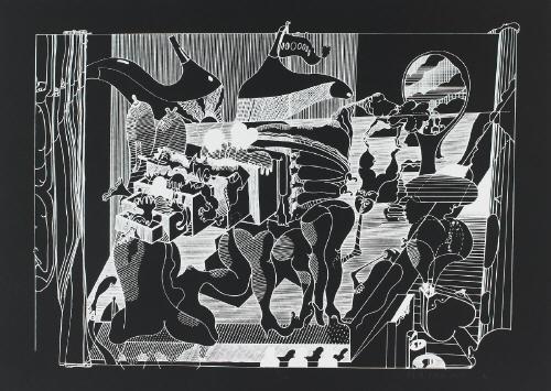 kleines theater wie man einen inneren und äusseren fluchtpunkt 1966 etching smllr 2 works by dieter roth