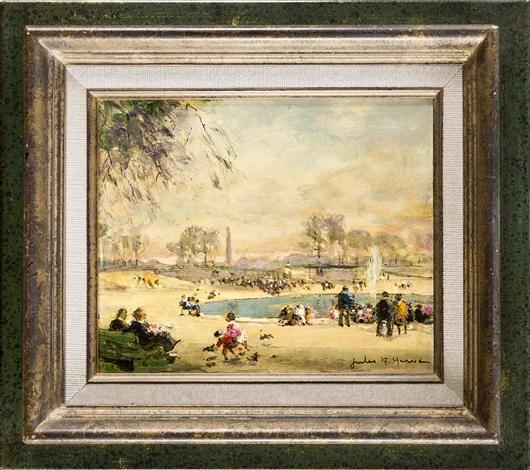 Ansicht von Paris mit spielenden Kindern am Bassin des Jardin des ...