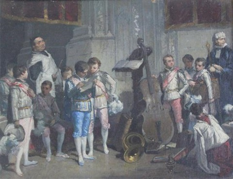 the village tailor (+ choristers in seville cathedral; pair) by francisco-javier amerigo y aparici