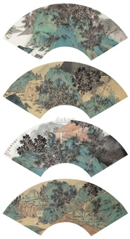 翠壑松风图 (四帧) (landscape) (4 works) by liu xu