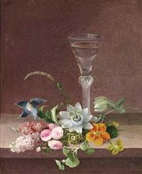 sommerblomster og et glas på en karm by johannes ludwig camradt
