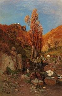 feldweg mit bäuerinnen auf taormina by otto geleng