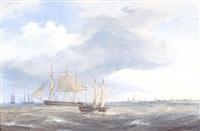 marine, talrige skibe på havet udfor kobenhavn by fredrich theodor kloss