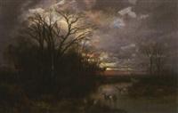 abendliche moorlandschaft mit rehen an der tränke by wilhelm reinhardt