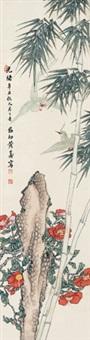 松竹双禽 立轴 纸本 by huang shanshou