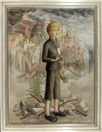 blonder junge mit weißer taube vor den ruinen einer stadt by felicity ashbee