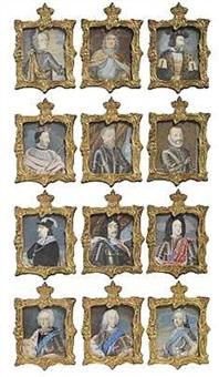 miniatureportrætter af den oldenborgske kongerække fra christian i til frederik v. (12 works) by johann jacob bruun
