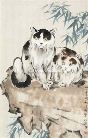 双猫 two cats by xu beihong