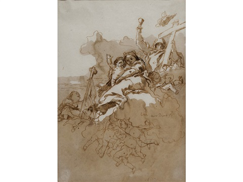 faith hope and charity with putti among clouds by giovanni domenico tiepolo