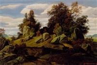 klippefyldt landskab med spredt træbevoksning by h. rudolph breslau