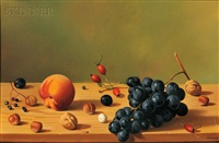 still life with fruit on a shelf by fernand renard