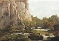 wildwasser vor einer steilwand by franz hengsbach
