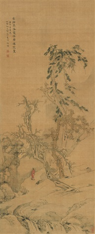 探泉图 two scholars standing under the tree by shao mi