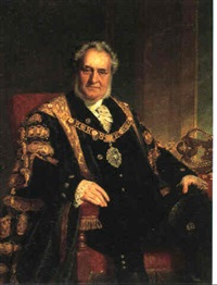 portraet af adelsmand i sort kabe med guldbeslag ved siden bord med krone by john edgar williams