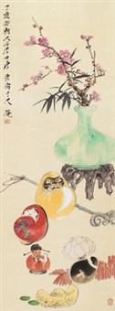 岁朝清供 立轴 绢本 by tang yun