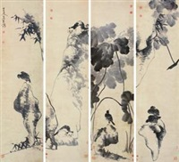 花鸟 (in 4 parts) by niu shihui